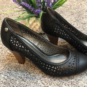 Black memory foam heels